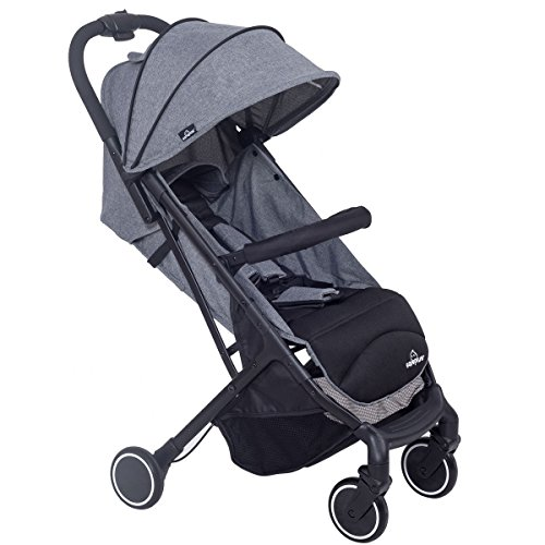 MD Group Baby Stroller Travel Foldable Lightweight Steel Frame & 300D Fabric Gray Color by MD Group