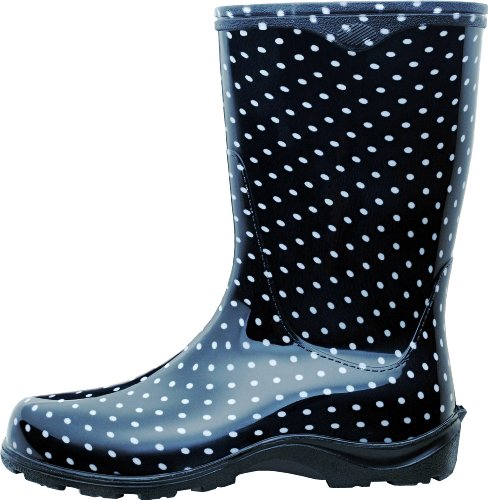 Polka Sloggers Print Women's with Dots Flower and Power Size Comfort Black White 9 Garden Waterproof Rain Insole Style 5016FP09 Boot nZprYnx