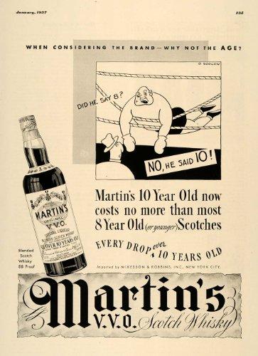 1937 Ad Martins Original Scotch Whiskey Aged Scotland - Original Print Ad Aged Liqueur