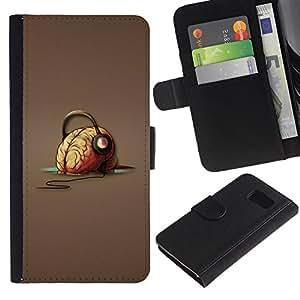 KingStore / Leather Etui en cuir / Samsung Galaxy S6 / Cerebro Auriculares Música Arte Vibes Dibujo