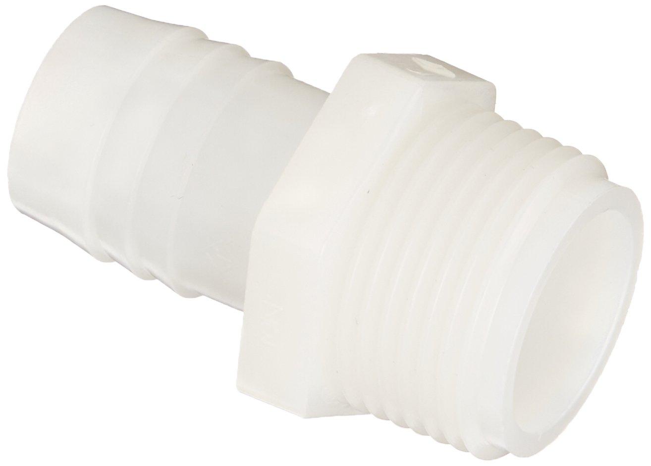 """Parker Hannifin 325HB-12-12N Par-Barb Nylon Male Connector Fitting, 3/4"""" Hose Barb x 3/4"""" Male NPT, White"""