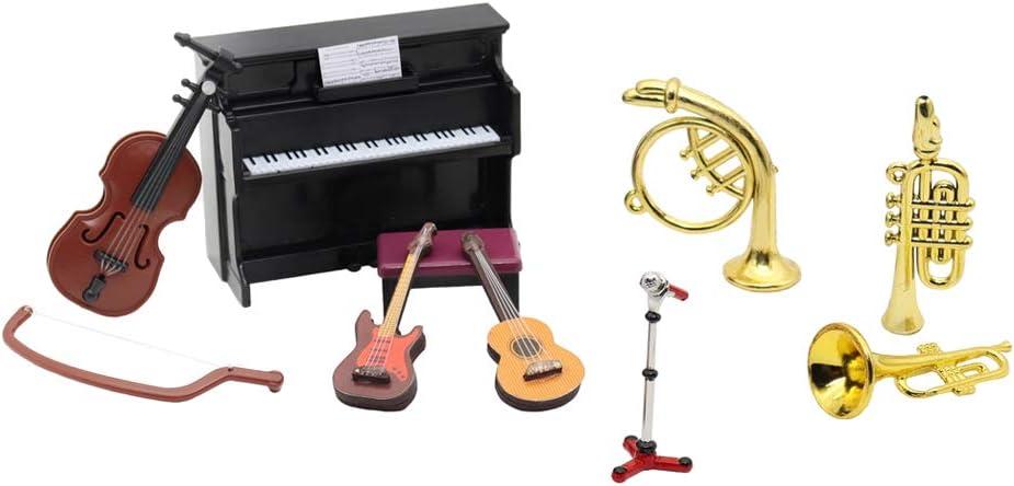 Hiawbon Dollhouse Miniature Musical Instrument Set Violin Guitar Piano Trumpet Mini Figurine Ornament for Dolls House Musical Room Furnishings