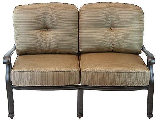 (K&B PATIO LD777-22 Elizabeth Low Loveseat with Cushion, Antique Bronze)