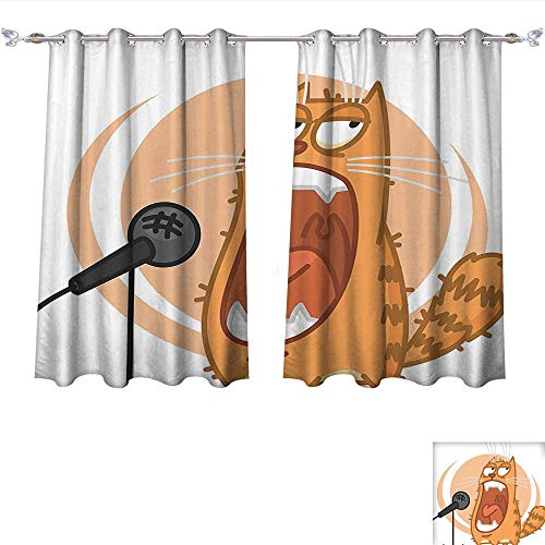 Printed Thermal Insulated Bedroom Blackout Curtains Cartoon Cool Rock Star Like Cat with Microphone Singing Image Charcoal Grey Peach and Marigold for Bedroom Set (W63 x L72 -Inch 2 Panels) ()