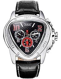Men Wrist Watch - JARAGAR Fashion Men Self-wind Mechanical Automatic Triangle Dial Leather Wrist