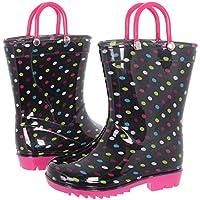 Capelli New York Toddler Girls Dots Printed Rain Boot Black Combo 6/7