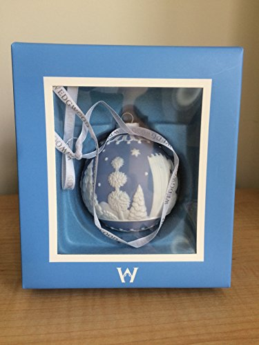 WEDGWOOD CHRISTMAS TREE ORNAMENT BLUE WITH WHITE TREES AND STARS NEW IN WEDGWOOD BOX ()