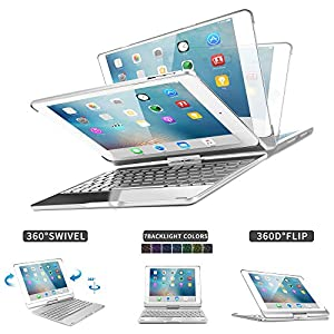 2018 iPad 9.7 6th Generation/Pad Air/iPad Air 2/iPad Pro 9.7/iPad 9.7 Keyboard Case,Dingrich 360 Degree Rotating Full Angle Smart Keyboard Case with 7 Color Backlit and Sleep Wake up Feature - Silver