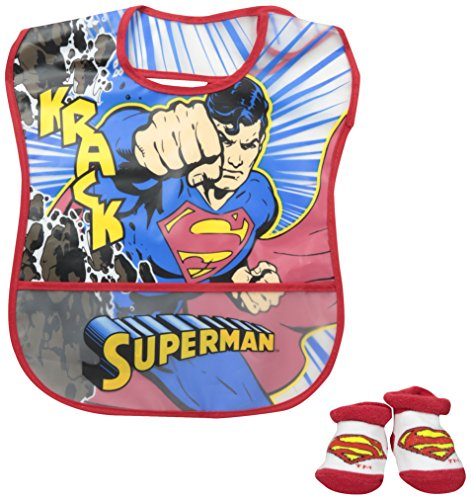 Superman Crumb Catcher Bib and Bootie Set