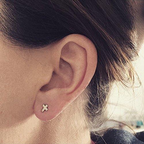 Amazon.com  Tiny Cross sterling silver stud earrings earings small ... fdcd204c8