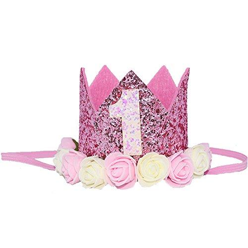 Petsidea Cute Glitter 1/2 1st 2 3 Dog Birthday Floral Crown Puppy Birthday Flower Hat for