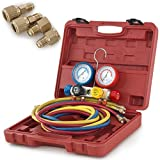 ARKSEN 4 -Valve Manifold Gauge, R404A R410A R22 HVAC, A/C, Brass Adapters, with Carrying Case
