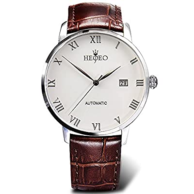 HEOJEO Men's Fashion Wrist Watches Automatic Mechanical Casual Watch Stainless Steel with Leather Band