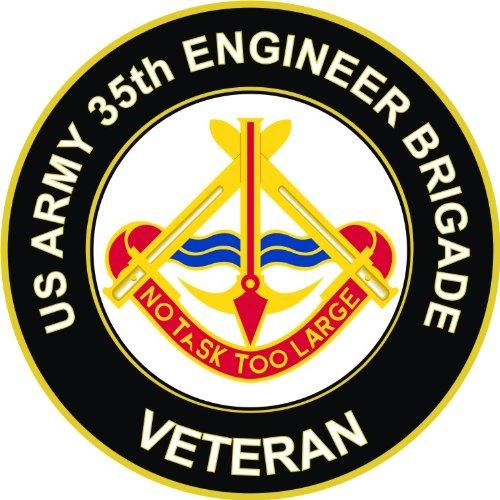 US Army Veteran 35th Engineer Brigade Unit Crest Decal Sticker 3.8