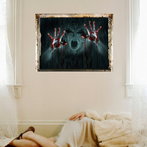 ChezMax Halloween Horror 3D Wall Decals Removable Wall Mural Sticker Wallpaper for Home Bloody Ghost 17.7