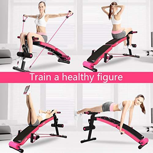 Plegable, silla para sentarse, silla de brazos romana AB, banco de pesas de color rosa negro, ejercicio de cuerpo completo, banco de descanso, banqueta para ...