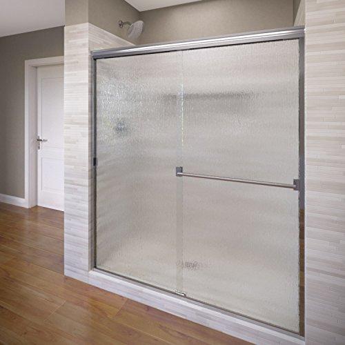 Basco Classic Sliding Shower Door, Fits 40-44 inch opening, Rain Glass, Silver Finish