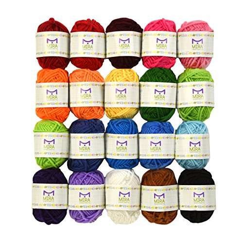 Mira Handcrafts 20 Acrylic Yarn Bonbons - 438 Yards Multicolor Yarn in Total – Great Crochet and Knitting Starter Kit for Colorful Craft – Assorted Colors - 7 PDF Ebooks (Knitting Patterns Alpaca Yarn)