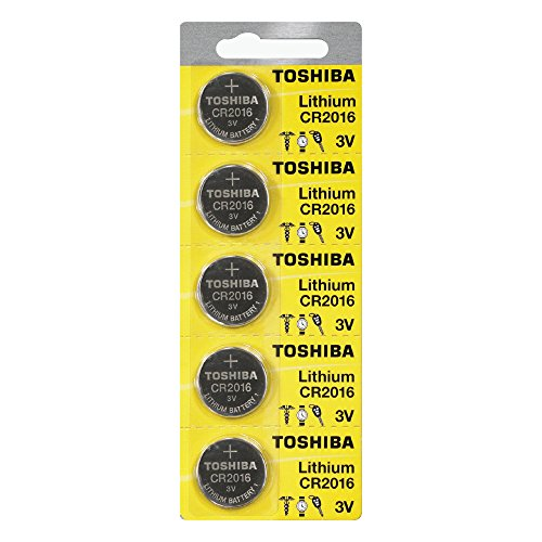 Price comparison product image Toshiba CR2016 3 Volt Lithium Coin Battery (5 Batteries)