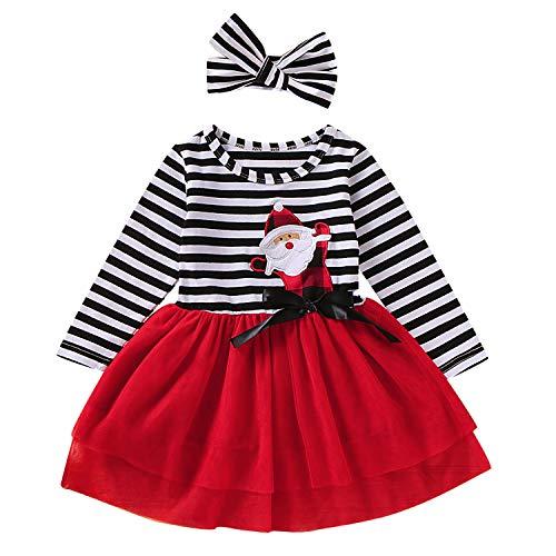 GRNSHTS Toddler Girls Christmas Outfits Baby Santa Claus Striped Long Sleeve Dress Tutu Skirt Playwear with Headband (Santa Red, 4-5 Years)