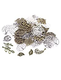 60PCS Tree&Flower&Leaf Antique Charms Beads Alloy Pendant Craft Accessory DIY Necklace Bracelet Craft Jewelry Making Supply HK12 …