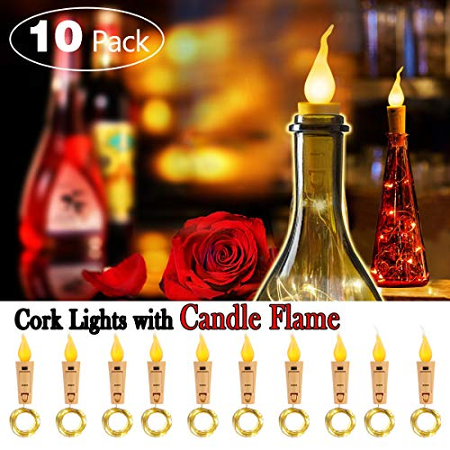 SUPERNIGHT Wine Bottle Lights with Cork - 10 Packs Warm White Battery Operated 6.6ft 20 LED String Lights with Candle Flame Starry Fairy Lights for Party,Christmas,Halloween,Wedding,Indoor Decoration (Best Halloween Indoor Decorations)