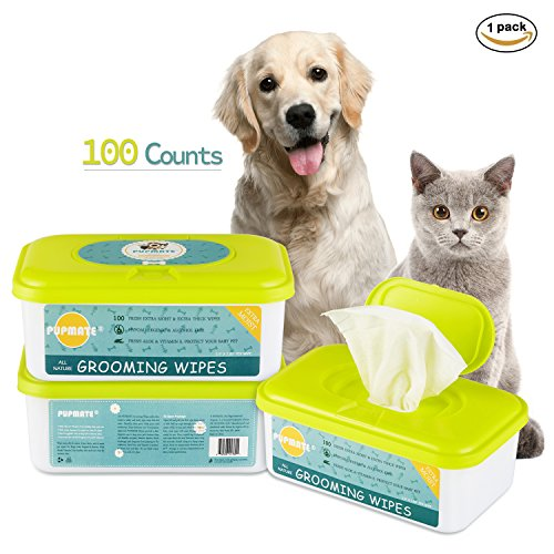 Dog Puppy Cat - Pupmate All Natural Pet Grooming Wipes, 100 Fresh Counts, Extra Moist & Thick, Rapid Deodorizing and Cleanup, Hygienic and Hypoallergenic Pet Care for Dogs & Cats, Puppies & Kittens (Natural)