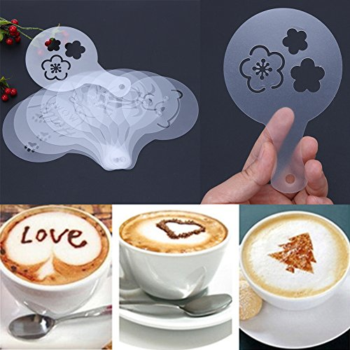 Killer Barbie Halloween Costume (JD Million shop 10pcs Coffee Decoration Molds DIY Coffee Template Strew Pad Cocoa Powder Spray Milk Foam Printing Plastic Pull Flower Model)