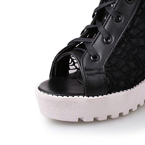 VogueZone009 Women's Lace-up Peep Toe High-Heels Blend Materials Solid Sandals Black noR4tSlvG