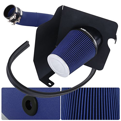 For Chevy Silverado 2500Hd 3500 Gmc Sierra 2500Hd 3500 V8 6.6L High Flow Induction Air Intake System + Heat Shield Blue Wrinkle Piping Kit ()