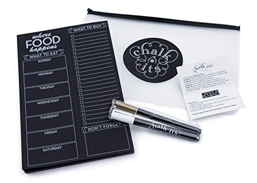 Chalk-Its Weekly Chalkboard Menu & Grocery List Planner w/White and Gold Liquid Chalk Markers, Perforated Black Paper Note Pad, Refrigerator Magnet, Gift Package, Bistro Design of Where Food Happens (Refrigerator Magnets Notepad)