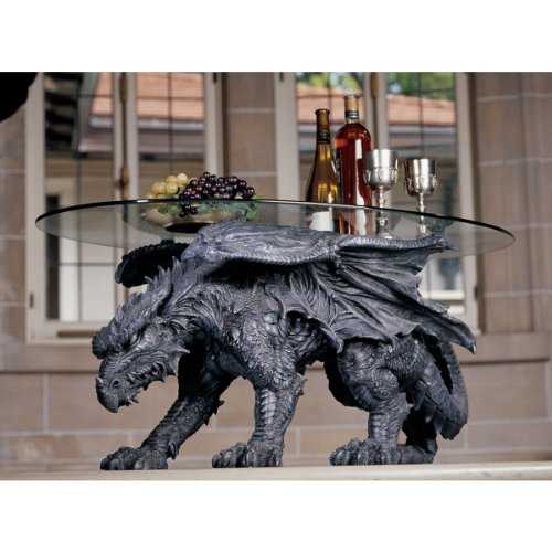 Design Toscano Warwickshire Dragon Gothic Decor Glass Topped Coffee Table, 39 Inch, Polyresin, Grey Stone