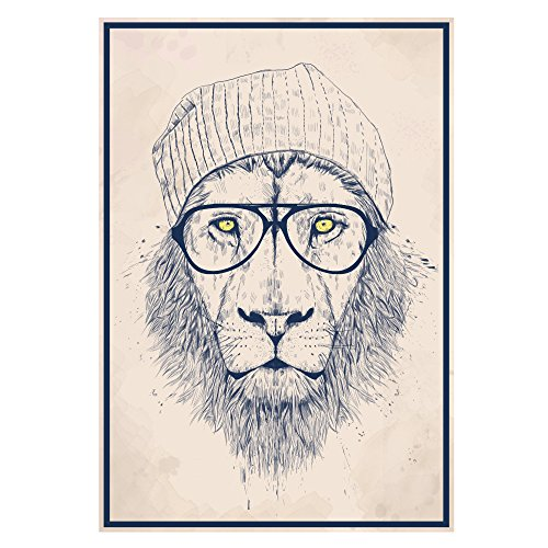 My Wonderful Walls Cool Hipster Boho Lion Wall Decal Sticker Animal Art by Balázs Solti, Small, Multicolored