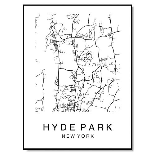 Hyde Park Map Wall Art Poster Print New York USA City Map Street 8 x 10 Black & White