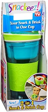 Blue Snackeez Travel Snack /& Drink Cup with Straw