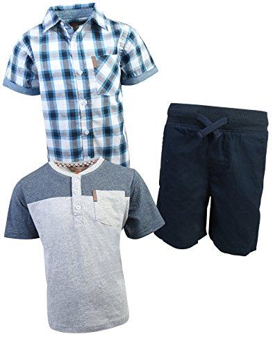 Ben Sherman Boys 3 Piece Short Sleeve Shirt, T-Shirt, and Twill Short Set, Navy/Blue Plaid, Size 6'