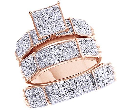 Jewel Zone US White Natural Diamond Engagement & Wedding Trio Bridal Ring Set in 10K Solid Gold (0.55 Carat) ()