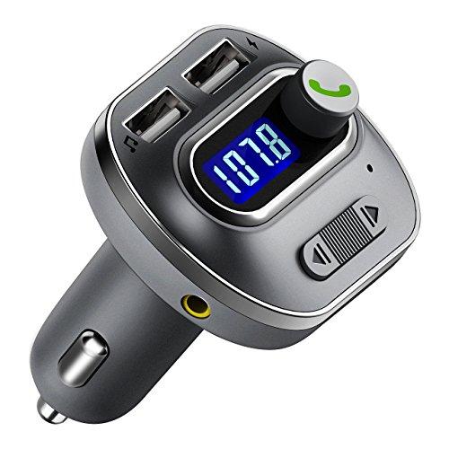 (FunPick Car Bluetooth FM Transmitter, Wireless Bluetooth FM Radio Adapter with Hands Free Calls, 2 USB Ports Support USB Flash Drive-Silver)