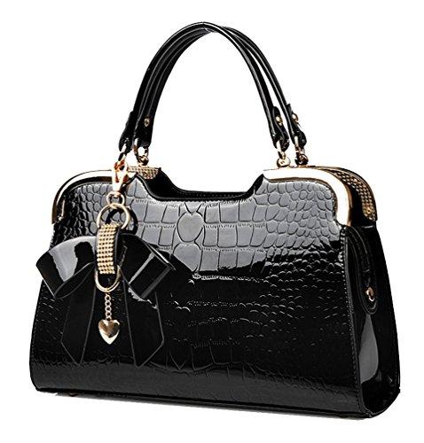 Crocodile Pattern Handbag Tote (Yan Show Women's New Patent Leather Shoulder Bags Butterfly Pendant Totes Crocodile Pattern Handbags)