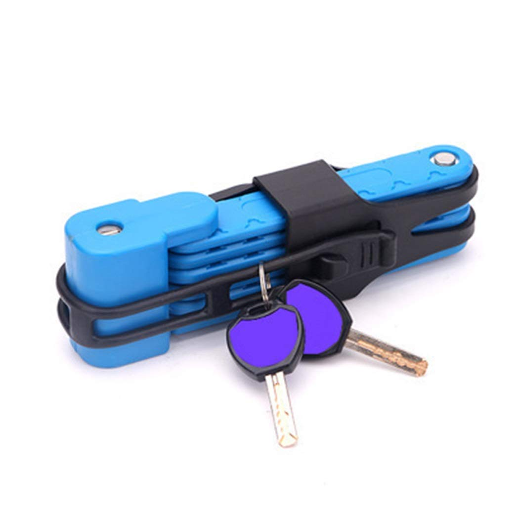 Folding Lock Bicycle Lock Anti-Theft Lock Mountain Bike Lock Joint Riding Equipment Motorcycle Electric Car (Color : Blue, Size : 1.5m)