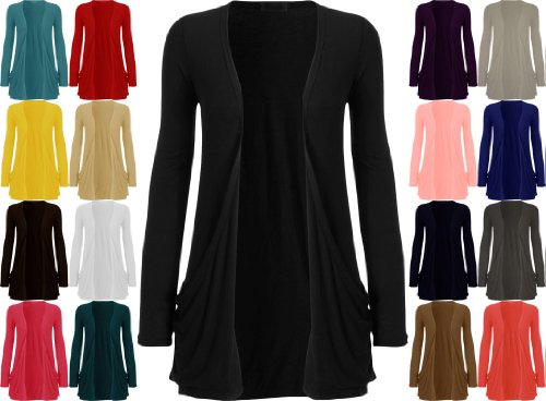 Forever Womens Plus Size Long Sleeves Plain Pockets Boyfriend Cardigan