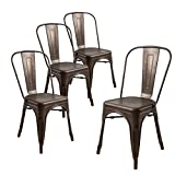 Buschman Store Tolix-Style Metal Indoor Outdoor Stackable Dinning Chairs with Back, Set of 4, Bronze