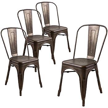 Buschman Set of Four Bronze Tolix-Style Metal Indoor/Outdoor Stackable Chairs with Back