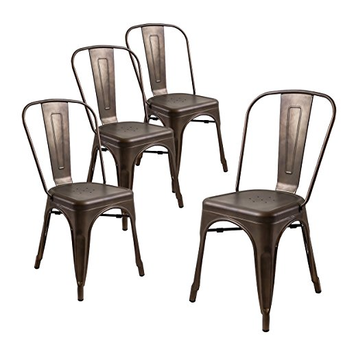 Buschman Store Tolix-Style Metal Indoor Outdoor Stackable Dinning Chairs with Back , Set of 4 , Bronze