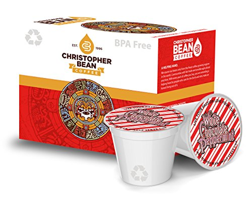 (White Chocolate Peppermint Single Cup Coffee Christopher Bean Coffee K Cup, For Keurig Brewers (18 Count Box))