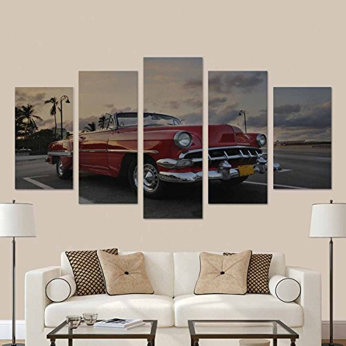 InterestPrint View of Red Classic Vintage American Car Parked, Commonly Used As Private Taxi in Havana, Cuba Canvas Prints Artwork Pictures (No Frame) 5 Pieces Printed for Home Office Decorations
