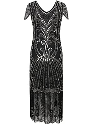 Vijiv Long Prom 1920s Gatsby Dresses With Sleeves Sequin Art Deco Flapper Dress