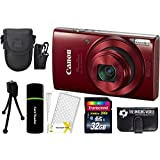 Canon PowerShot ELPH 190 IS 20.2MP 10x Zoom Wi-Fi Digital Camera (Red) + 32GB Card + Reader + Case + Accessory Bundle