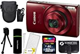 Cheap Canon PowerShot ELPH 190 IS 20.2MP 10x Zoom Wi-Fi Digital Camera (Red) + 32GB Card + Reader + Case + Accessory Bundle