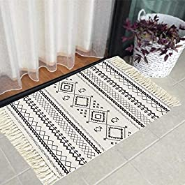 HEBE Cotton Area Rug Set 2 Piece 2'x3'+2'x4.2′ Woven Cotton Area Rugs Runner Machine Washable Cotton Rug with Fringe Tassel for Living Room Bedroom Kitchen